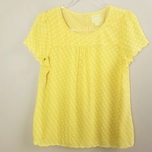 Maeve Yellow Dot Short Sleeve Scallop Hem Top 6